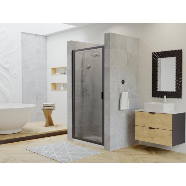 Coastal Shower Doors Paragon 23 In To 23 75 In X 75 In Framed Continuous Hinged Shower Door In Matte Black With Aquatex Glass P23 75o A The Home Depot