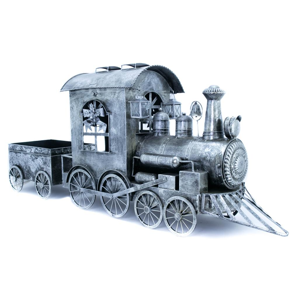 Christmas Train.Zaer Ltd International 27 In Christmas Train With Cart In Silver