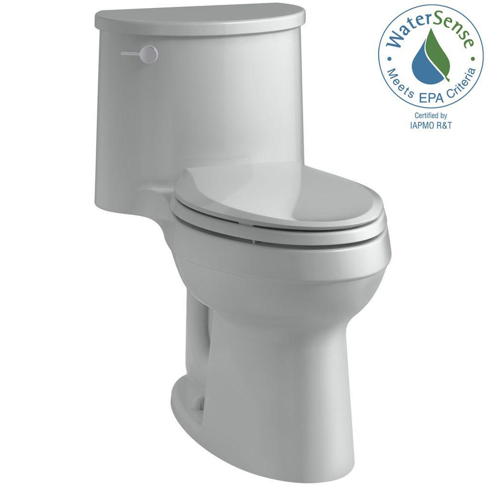 Adair Comfort Height 1-Piece 1.28 GPF Single Flush Elongated Toilet with AquaPiston Flush Technology in Ice Grey