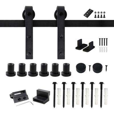 96 in. Frosted Black Sliding Barn Door Hardware Track Kit for Single with Non-Routed Floor Guide