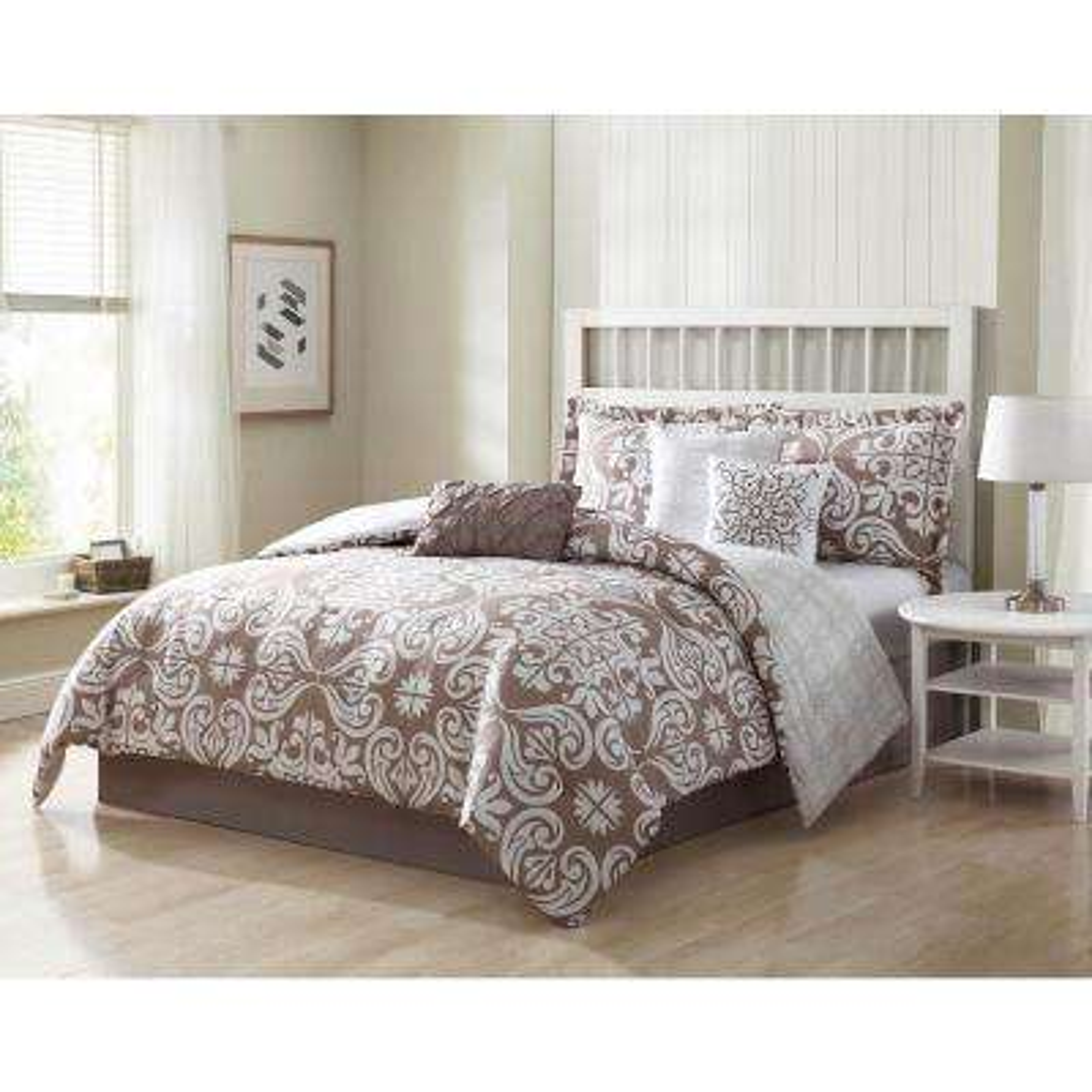 Helena 7-Piece Mocha Reversible King Comforter Set