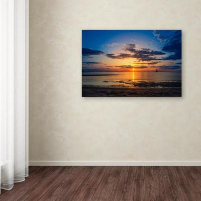"22 in. x 32 in. ""Sunset Breakwater Lighthouse"" by PIPA Fine Art Printed Canvas Wall Art"