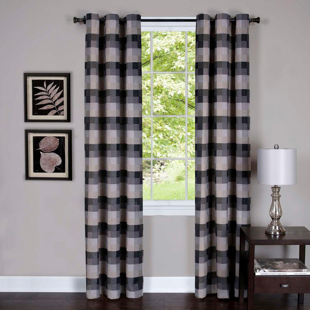 Harvard Black Window Curtain Panel w/6 Grommets - 42 in. W x 63 in. L