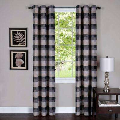 Harvard Black Window Curtain Panel w/6 Grommets - 42 in. W x 84 in. L