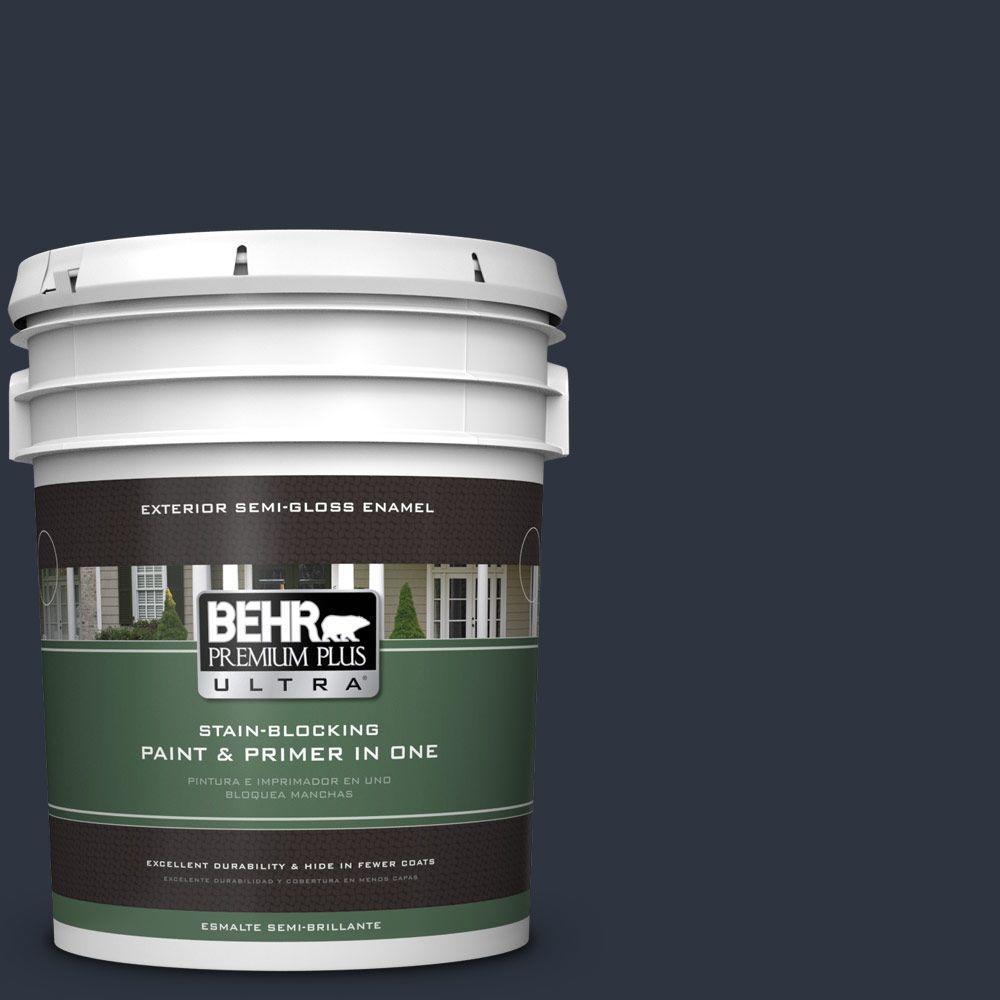 BEHR Premium Plus Ultra 5-gal. #ECC-23-3 Blackbird Semi-Gloss Enamel Exterior Paint
