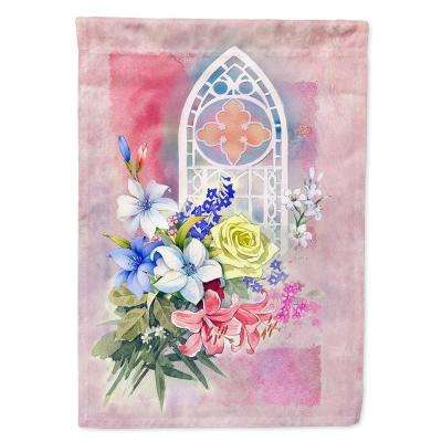 11 in. x 15-1/2 in. Polyester Church Window and Flowers 2-Sided 2-Ply Garden Flag