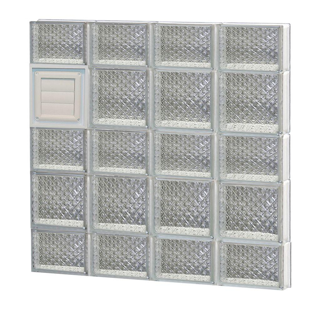 Clearly Secure 31 in. x 32.75 in. x 3.125 in. Frameless Diamond Pattern Glass Block Window with Dryer Vent