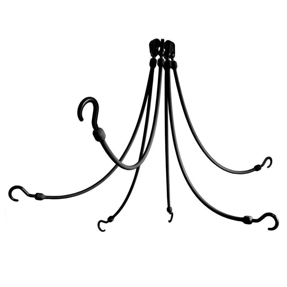 The Perfect Bungee 24 in. Polyurethane Flex Web with Six Arms in Black