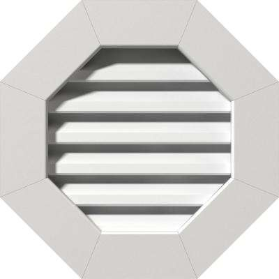 21 in. x 21 in. PVC Functional Octagonal Gable Vent with Flat Trim Frame Unfinished (16 in. x 16 in. Rough Opening)