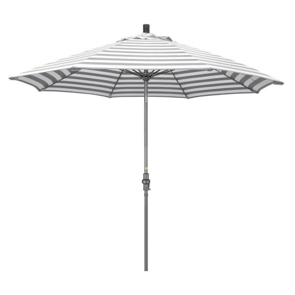 9 ft. Hammertone Grey Aluminum Market Patio Umbrella with Collar Tilt Crank Lift in Gray White Cabana Stripe Olefin
