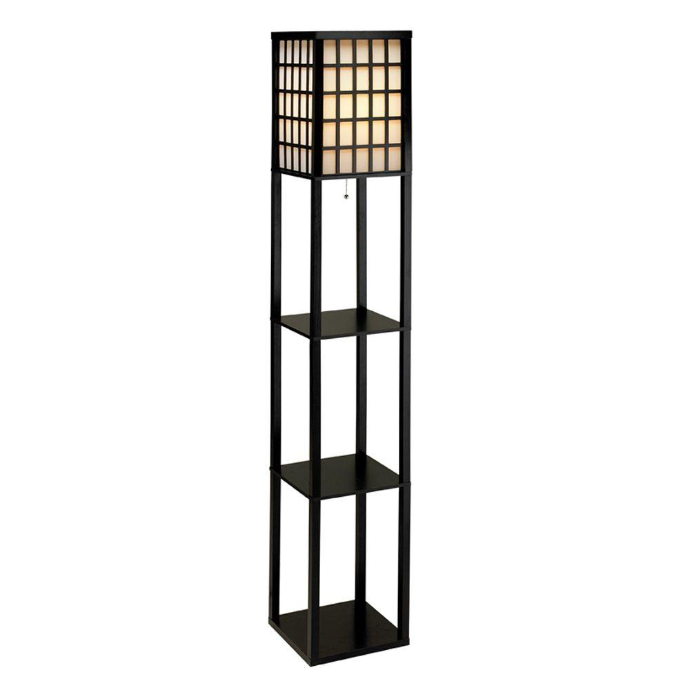 Black Wooden Shelf Floor Lamp