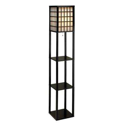 Middleton 63 in. Black Wooden Shelf Floor Lamp