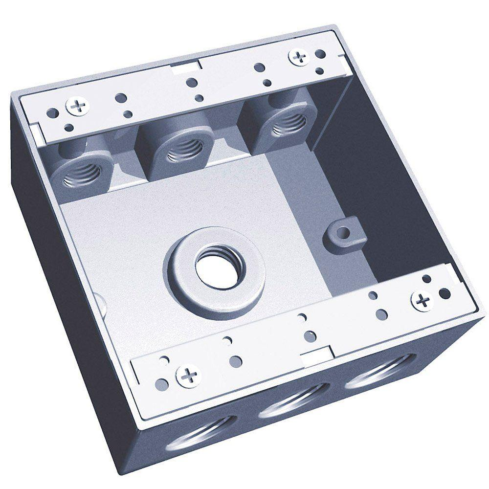 Red Dot 2-Gang 31.8 cu. in. Silver Universal Weatherproof Electrical Box