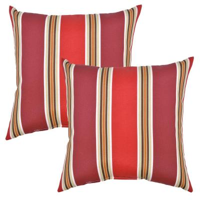 Chili Stripe Square Outdoor Throw Pillow (2-Pack)