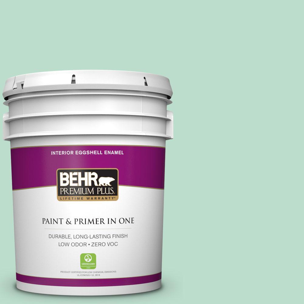 BEHR Premium Plus 5-gal. #470C-3 Spirited Green Zero VOC Eggshell Enamel Interior Paint