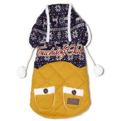 X-Large Yellow and Blue Snowadayz Pom Pom Pet Hooded Sweater