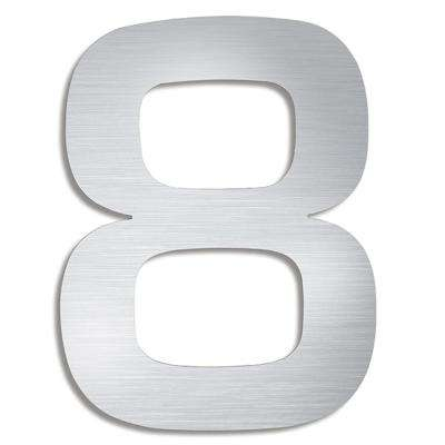 5.9 in. Brushed Stainless Steel Mounted House Number 8
