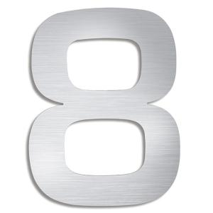 5.9 inch Brushed Stainless Steel Mounted House Number 8 by