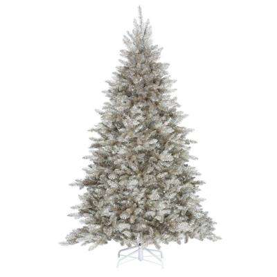 7.5 ft. Pre-Lit Sterling Tinsel Artificial Christmas Tree in Silver and Champagne with Clear Lights