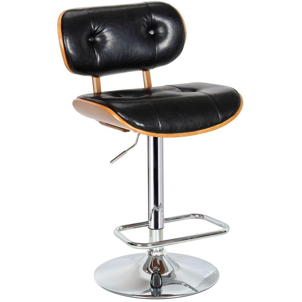 Boraam Smuk Adjustable Height Black Swivel Cushioned Bar Stool