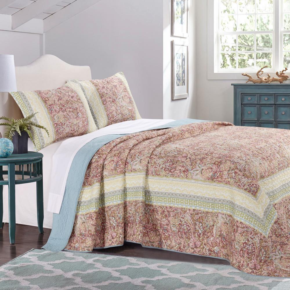 Palisades Pastel Bedspread Set, 3-Piece Queen