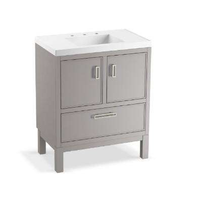 Rubicon 30 in. W Bath Vanity in Mohair Grey with Vanity Top in White with White Basin