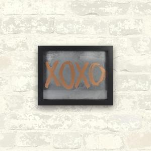 Linden Ave 10 inch x 8 inch XOXO 1-Piece Framed Artwork with Metallic Screenprint by Linden Ave
