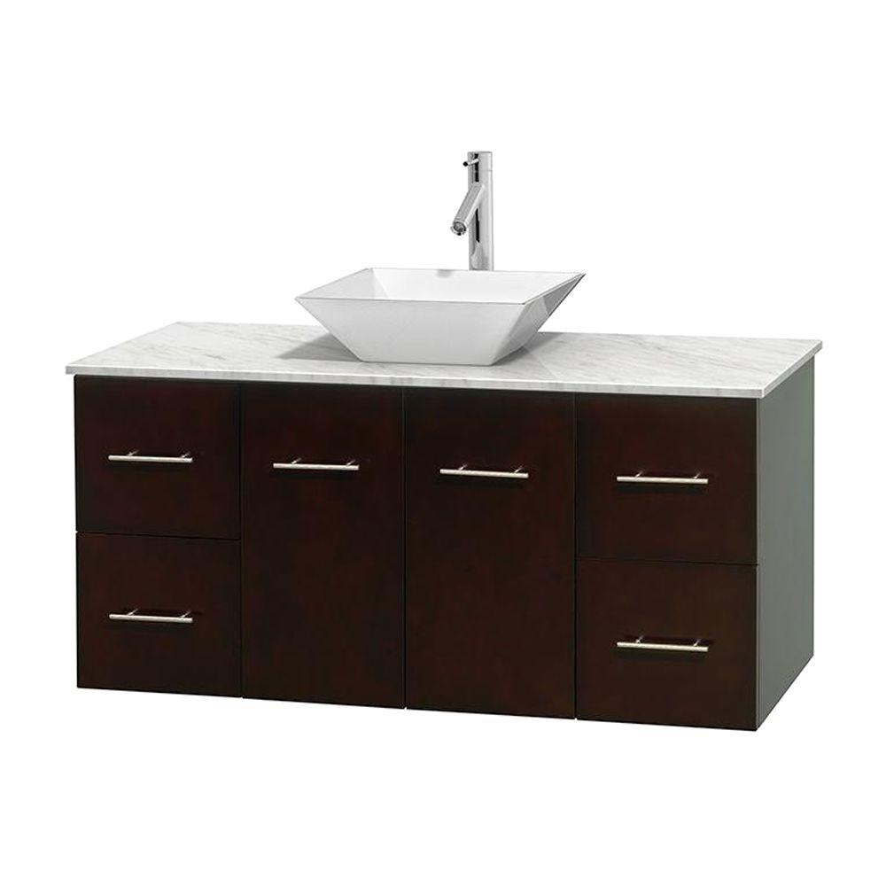 Wyndham Collection Centra 48 in. Vanity in Espresso with Marble Vanity Top in Carrara White and Porcelain Sink