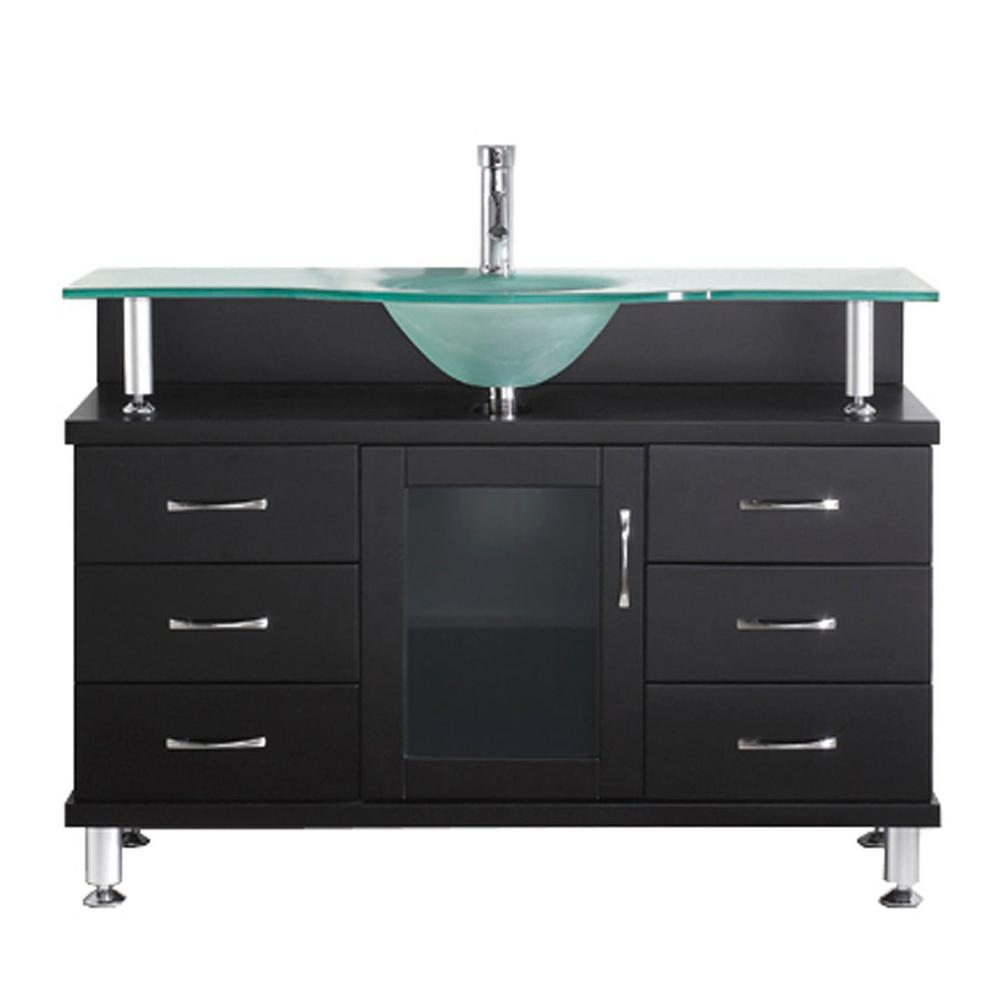 Virtu USA Vincente 48 in. W Bath Vanity in Espresso with Glass Vanity Top in Aqua with Round Basin
