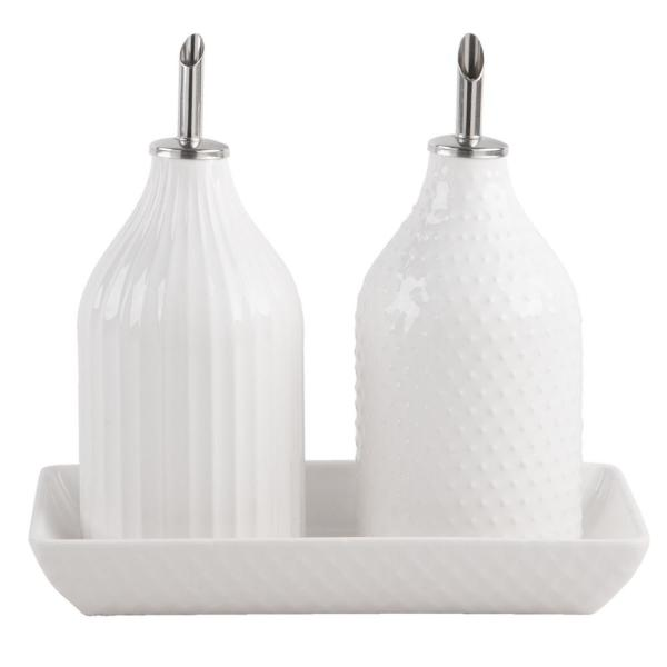 Home Essentials 5pc White Dots and Stripes Embossed Oil and Vinegar Set