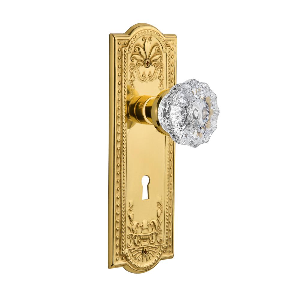 Nostalgic Warehouse Meadows Plate with Meadows Knob and Keyhole Complete Mortise Set Antique Brass
