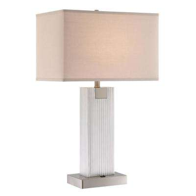 30.25 in. Brushed Nickel Table Lamp with White Fabric Shade