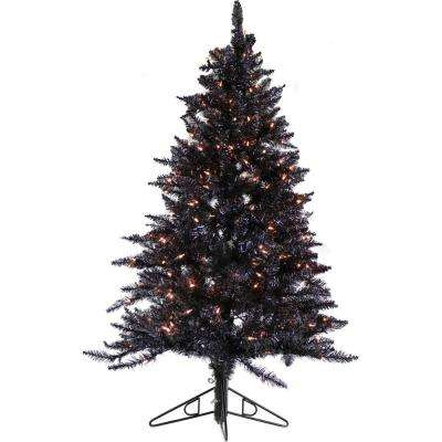 7 ft. Festive Black Tinsel Christmas Tree with Clear LED Lighting