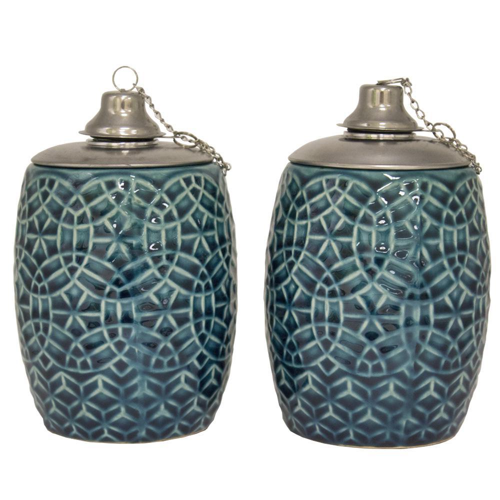 6 in. Aqua Rivage Ceramic Tabletop Torch, Set of 2