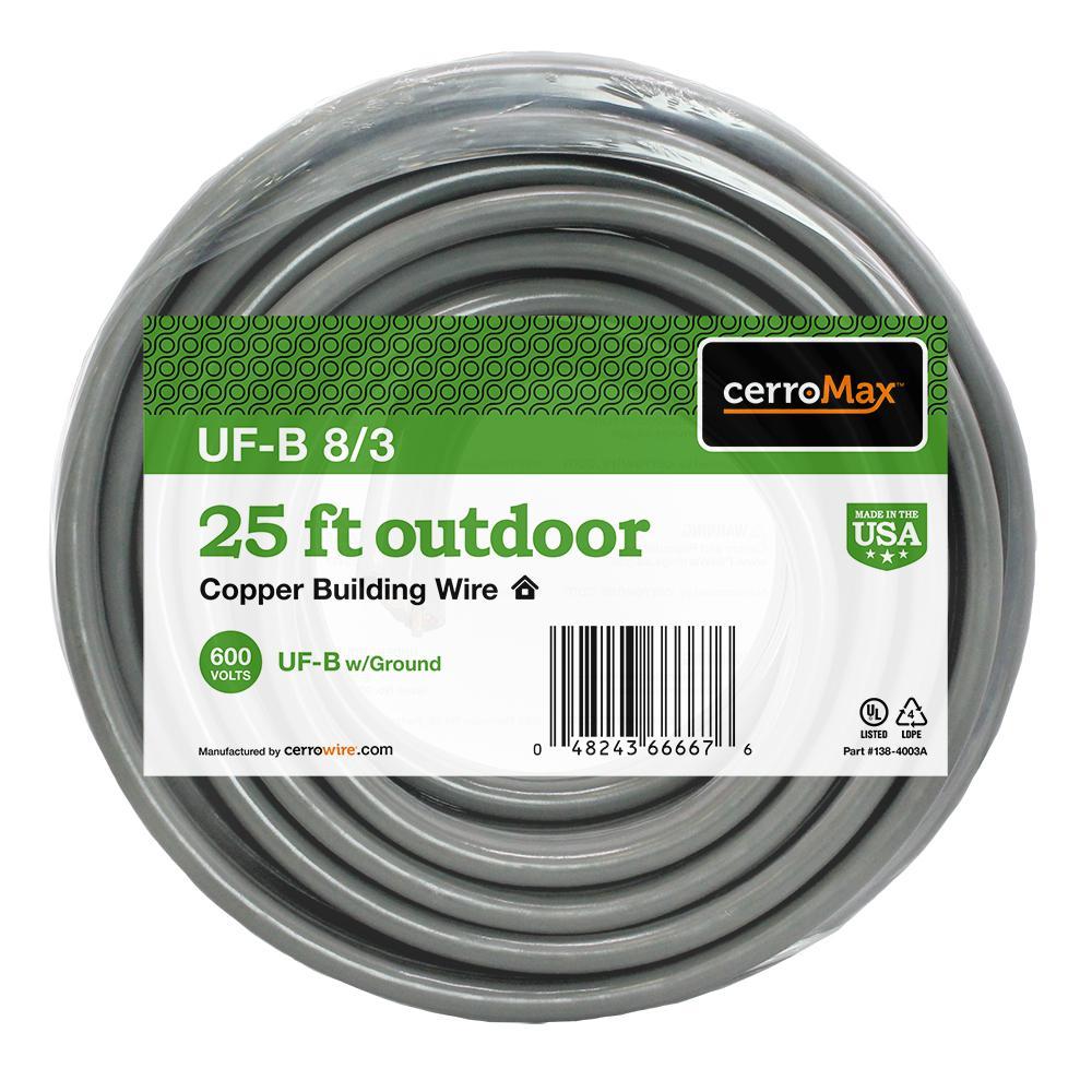 25 ft. 8/3 UF-B W/G Wire