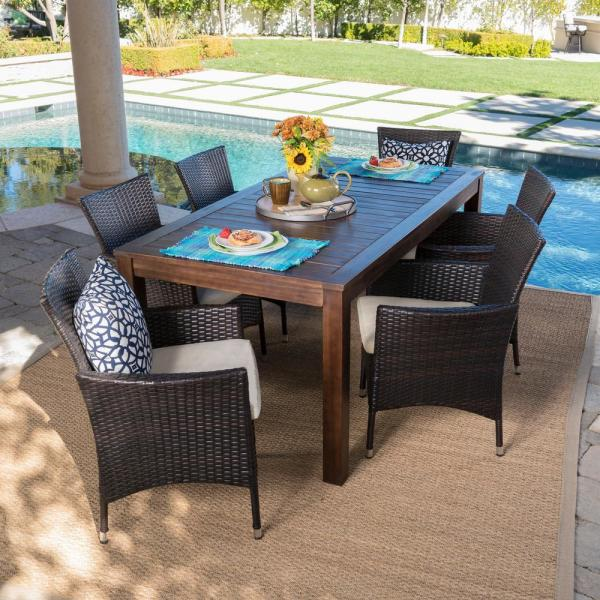 Noble House Multi Brown 7 Piece Wicker And Wood Rectangular Outdoor Dining Set With Beige Cushion 21607 The Home Depot