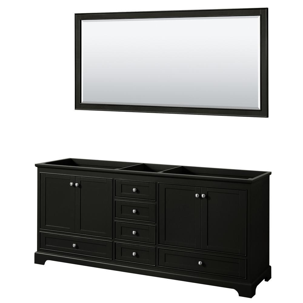 Deborah 79 in. Double Bathroom Vanity Cabinet Only with 70 in. Mirror in Dark Espresso