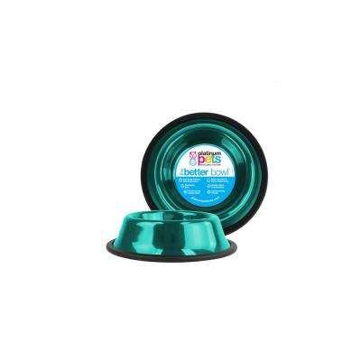 Platinum Pets .75 Cup Non-Tip Stainless Steel Cat/Puppy Bowl, Caribbean Teal