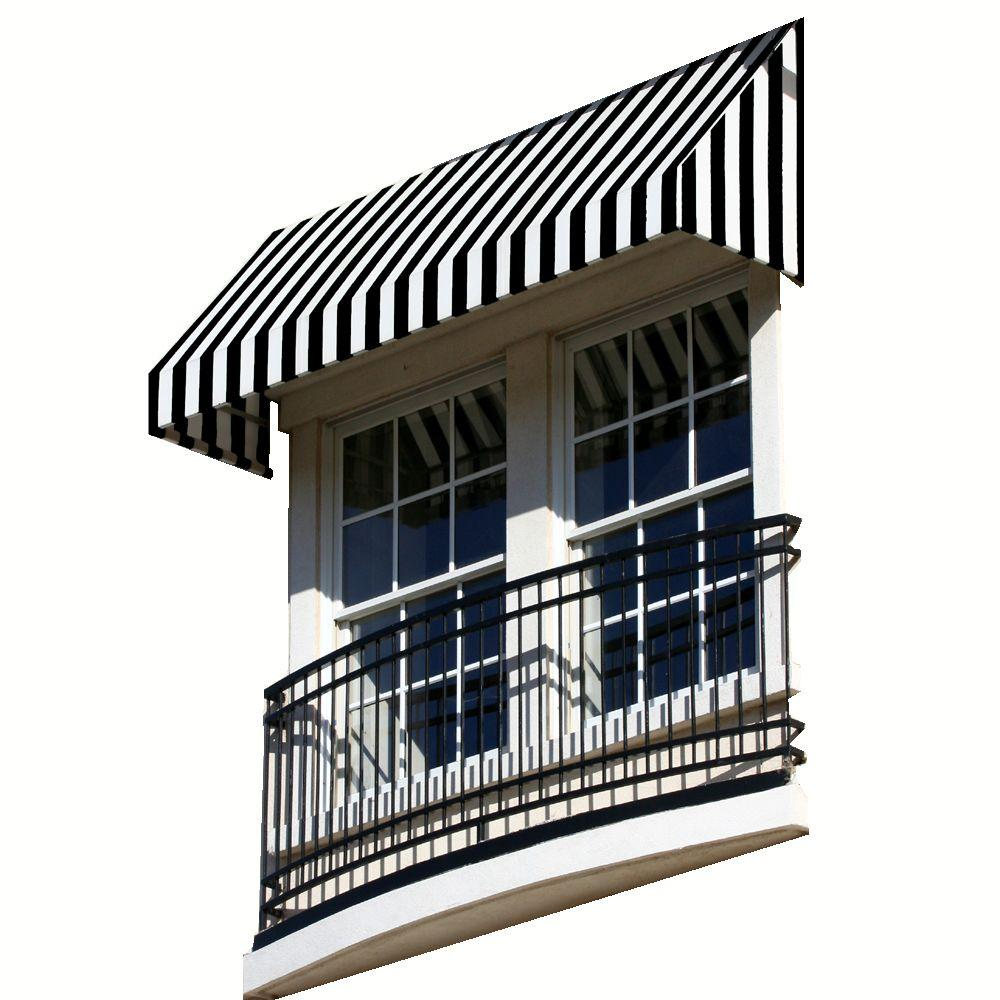 AWNTECH 4 ft. New Yorker Window/Entry Awning (24 in. H x 48 in. D) in Black / White Stripe