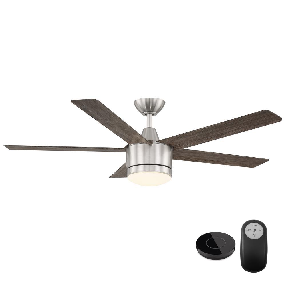 Home Decorators Collection Merwry 52 in. Integrated LED Brushed Nickel Fan with Light Kit and Remote Control works with Google and Alexa