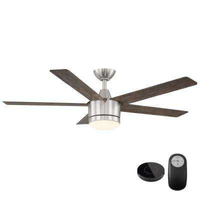 Merwry 52 in. Integrated LED Brushed Nickel Fan with Light Kit and Remote Control works with Google and Alexa