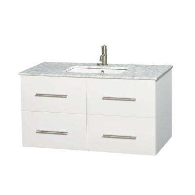 Centra 42 in. Vanity in White with Marble Vanity Top in Carrara White and Undermount Sink