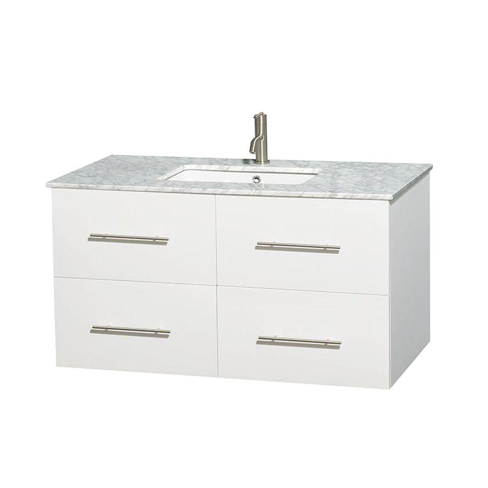 Wyndham Collection Centra 42 in. Vanity in White with Marble Vanity Top in Carrara White and Undermount Sink