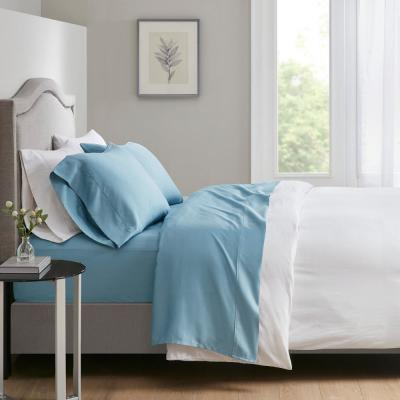 700 Thread Count 4-Piece Blue Cotton Blend King Anti-Microbial Sheet Set
