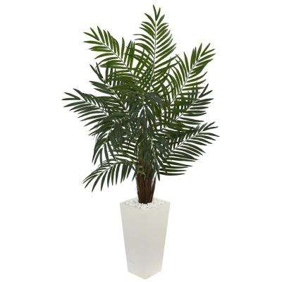 Areca Artificial Palm Tree In White Tower Planter 5871 The Home Depot