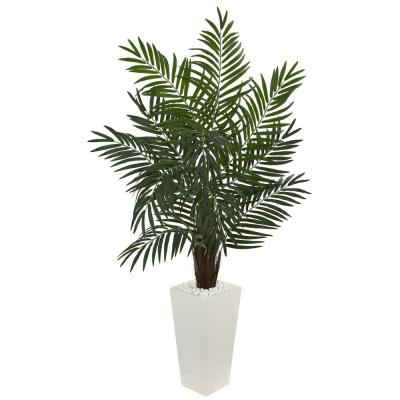 5.5 in. Areca Artificial Palm Tree in White Tower Planter