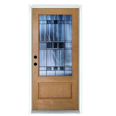 36 in. x 80 in. Savana Light Oak Right-Hand Inswing 3/4 Lite Decorative Fiberglass Prehung Front Door