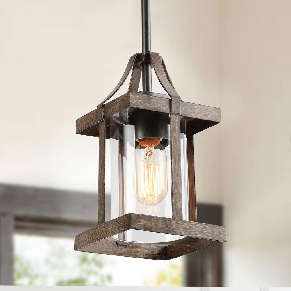 Lnc 1 Light Dark Gray Faux Wood Rustic Mini Pendant