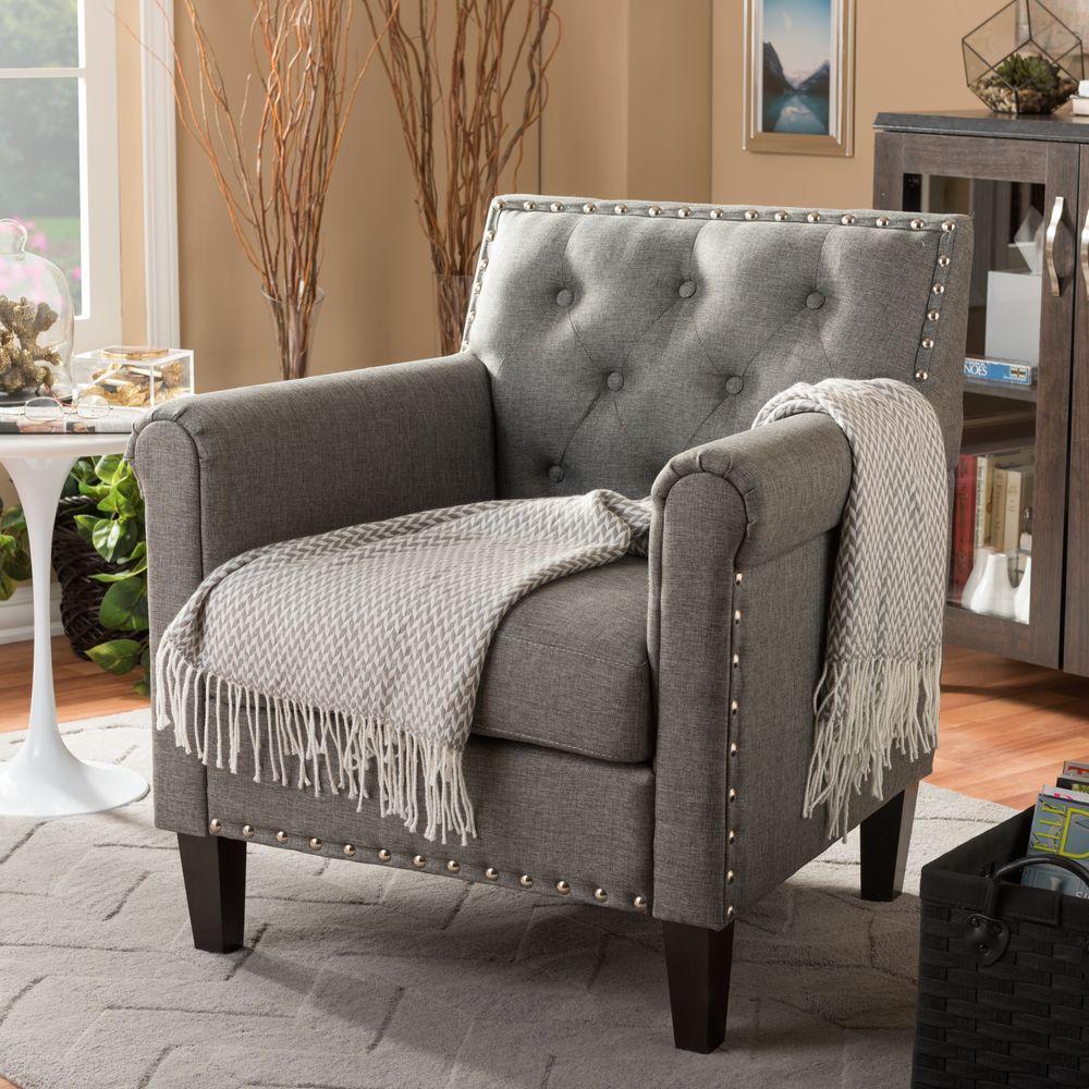 Rollins Modern Arm Chair Blue: Baxton Studio Thalassa Gray Fabric Upholstered Arm Chair
