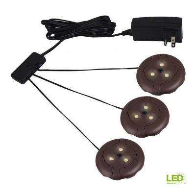 3 in. W LED Bronze 3-Light 2700K Puck